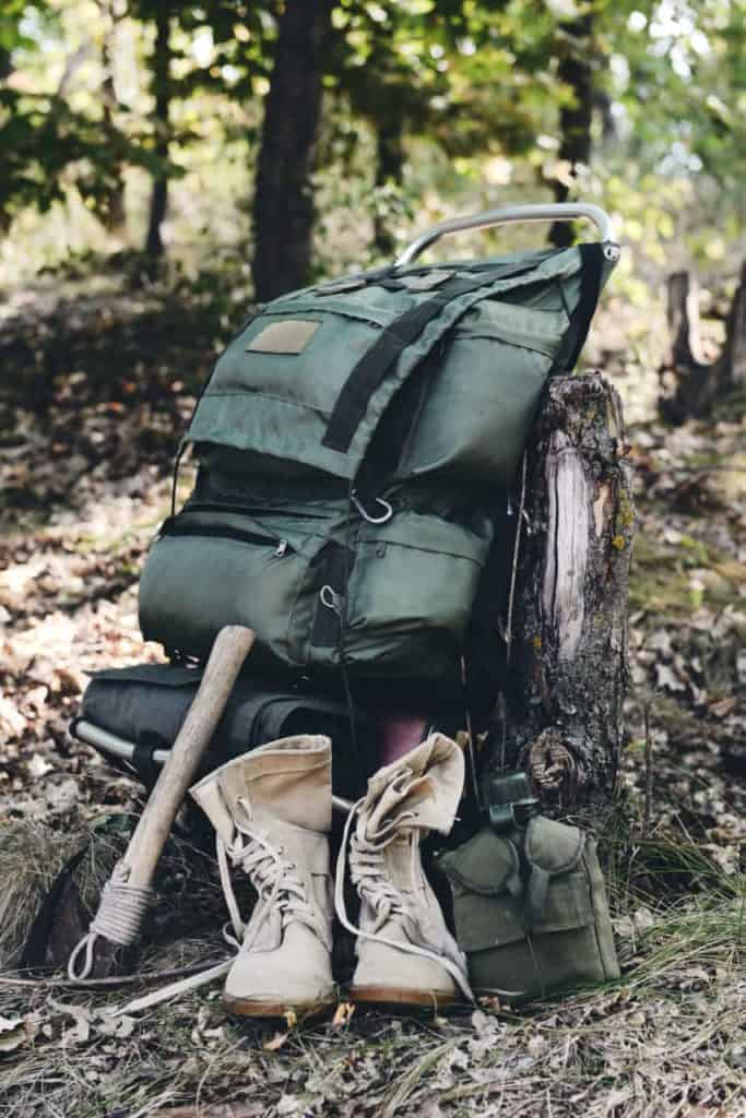A bug out bag with survival gear