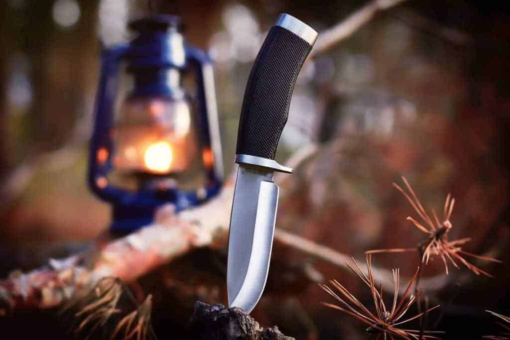 The best survival knife in a wilderness background