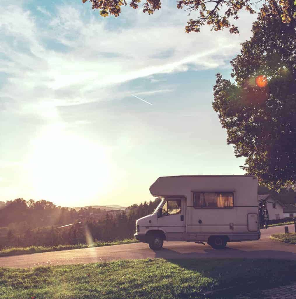 Motorhome parked against the sunset