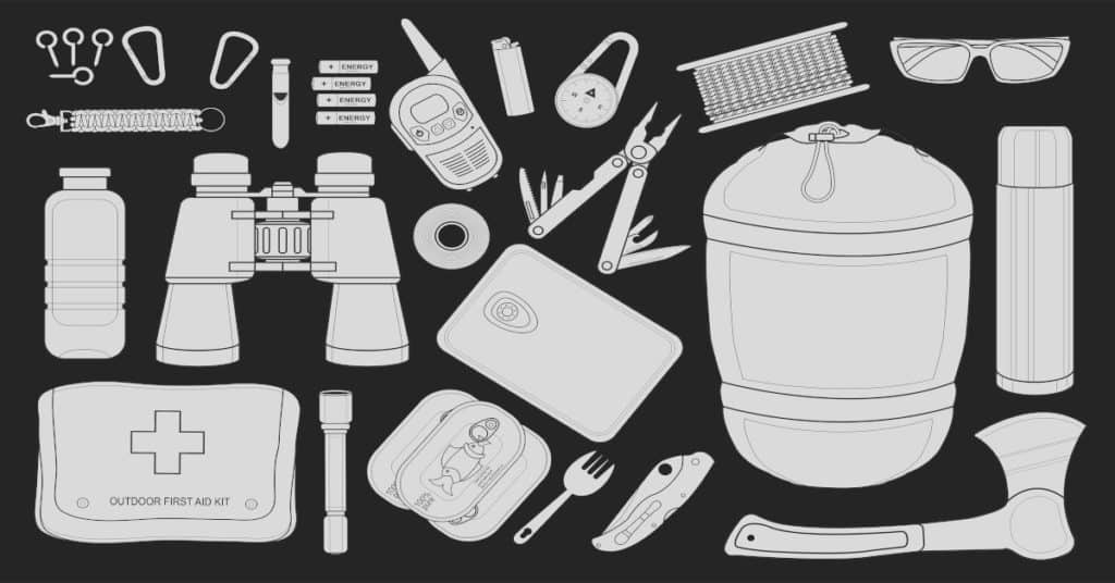 Various survival items for the bug out bag