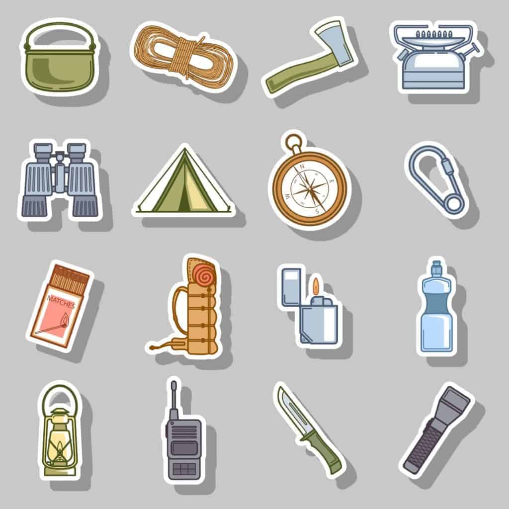 Various items of survival gear