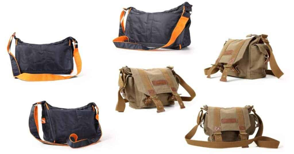Two types of messenger bags that could be used as get home bags