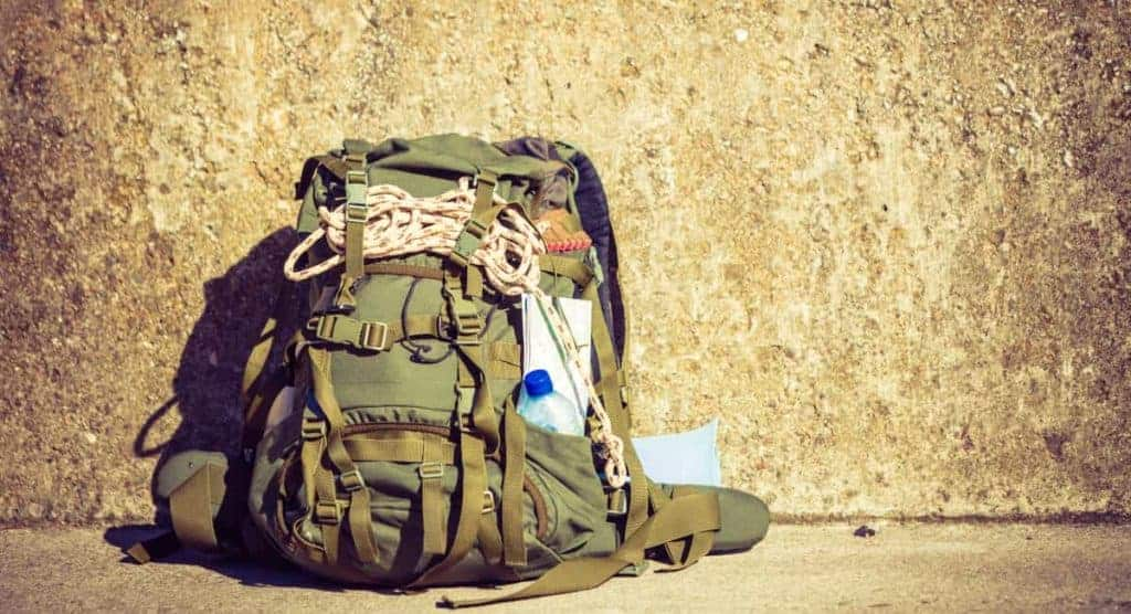 A fully loaded survival backpack