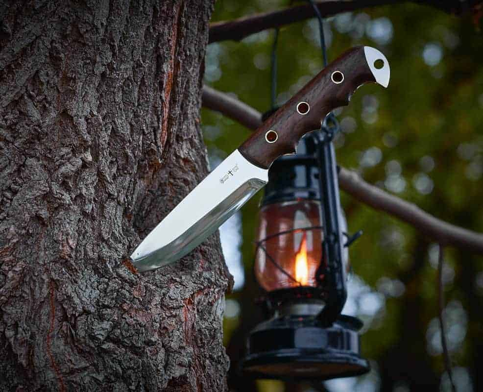 Survival knife stuck in a tree with a camping lamp in the background