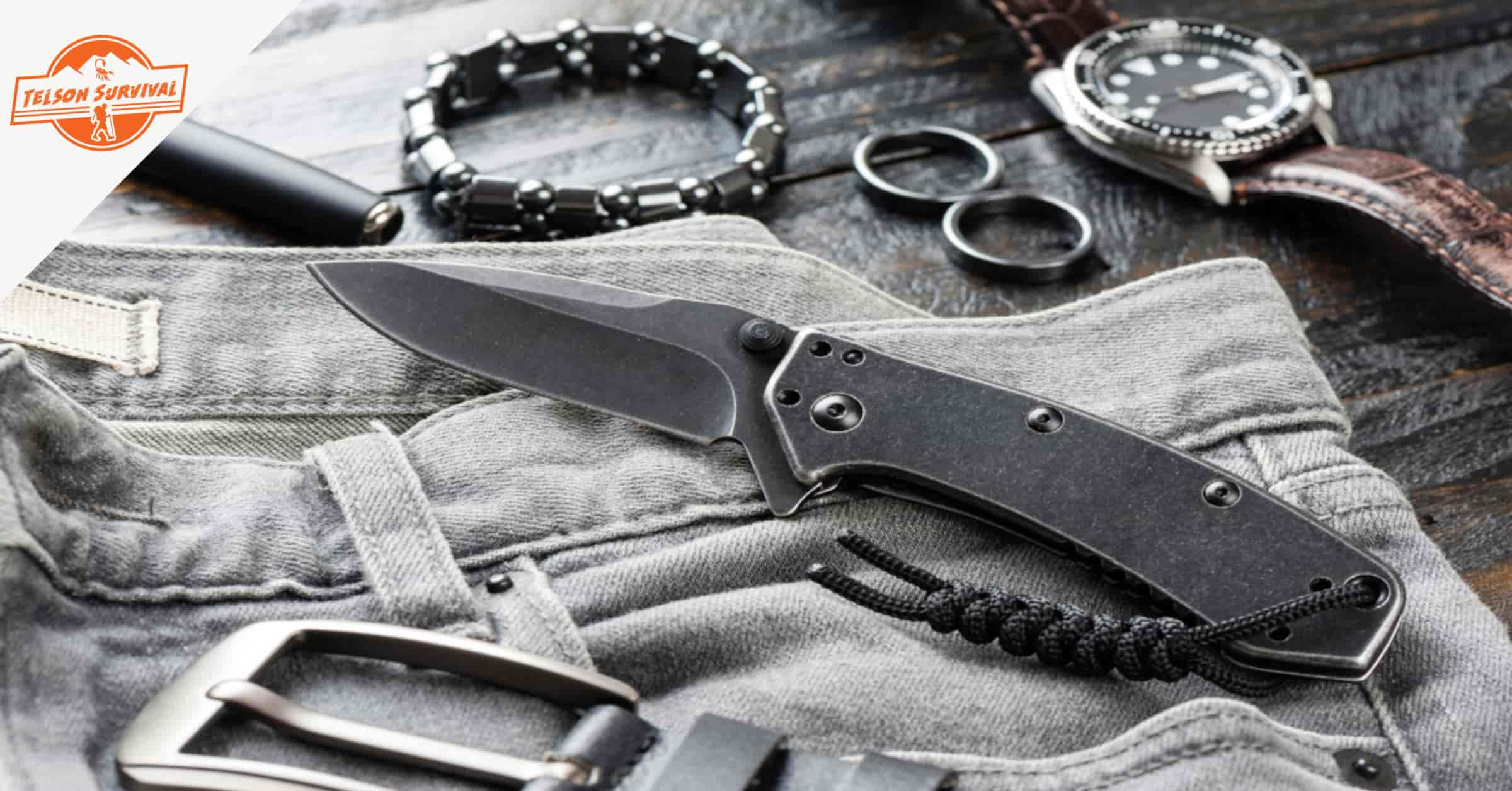 EDC knife, pen, watch and belt as part of everyday carry items