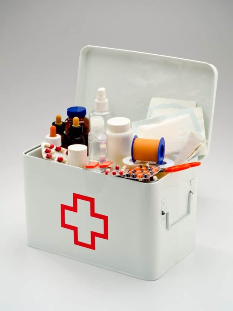 Well stocked first aid kit medicine box