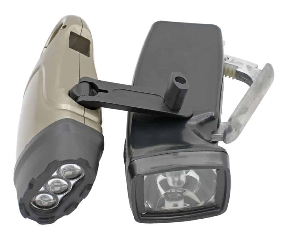 Two types of hand crank flashlights