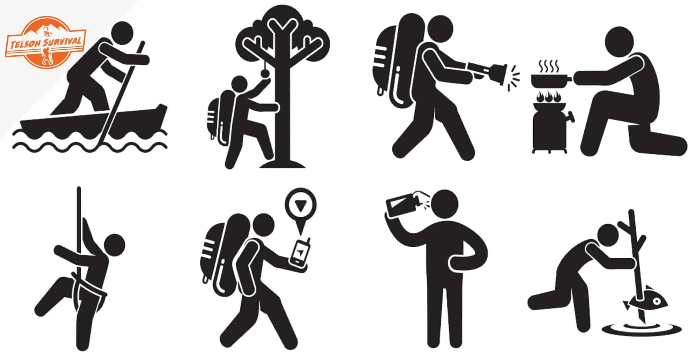 Illustration of various basic survival skills