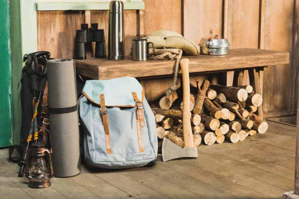 A prepared bug out bag at a bug out location