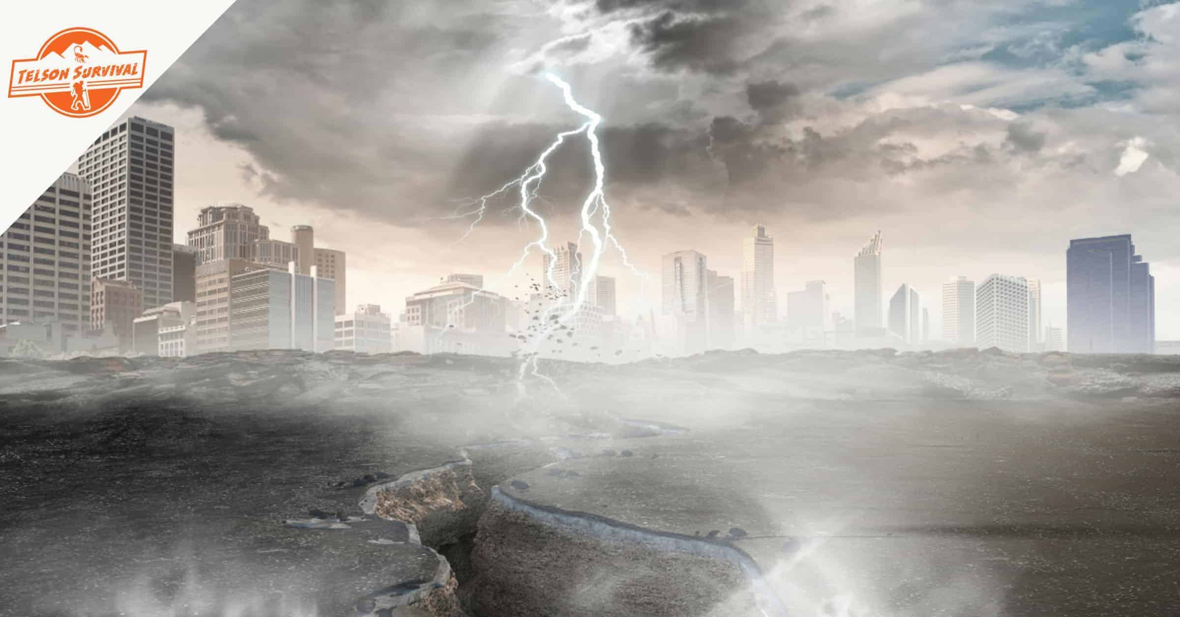 Earthquake and thunderstorm ravaging a city