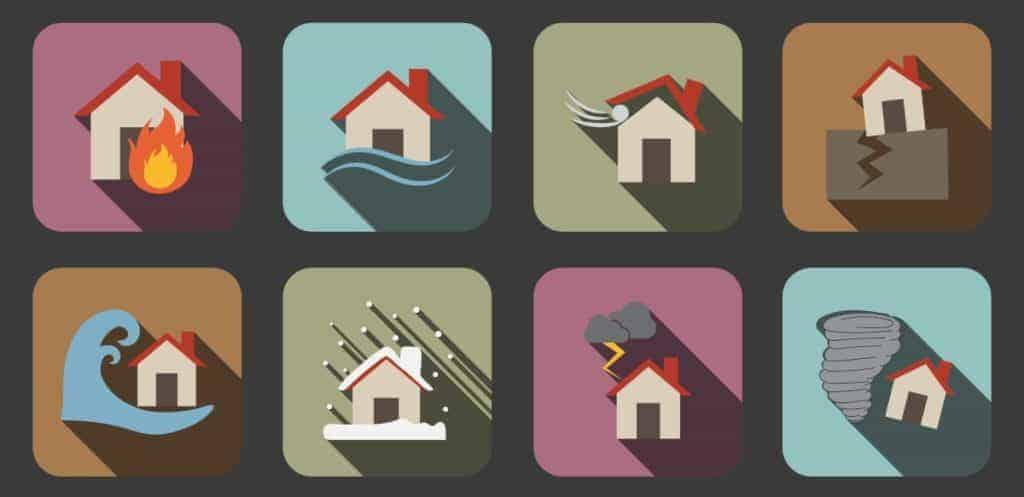 Houses being affected by various disasters