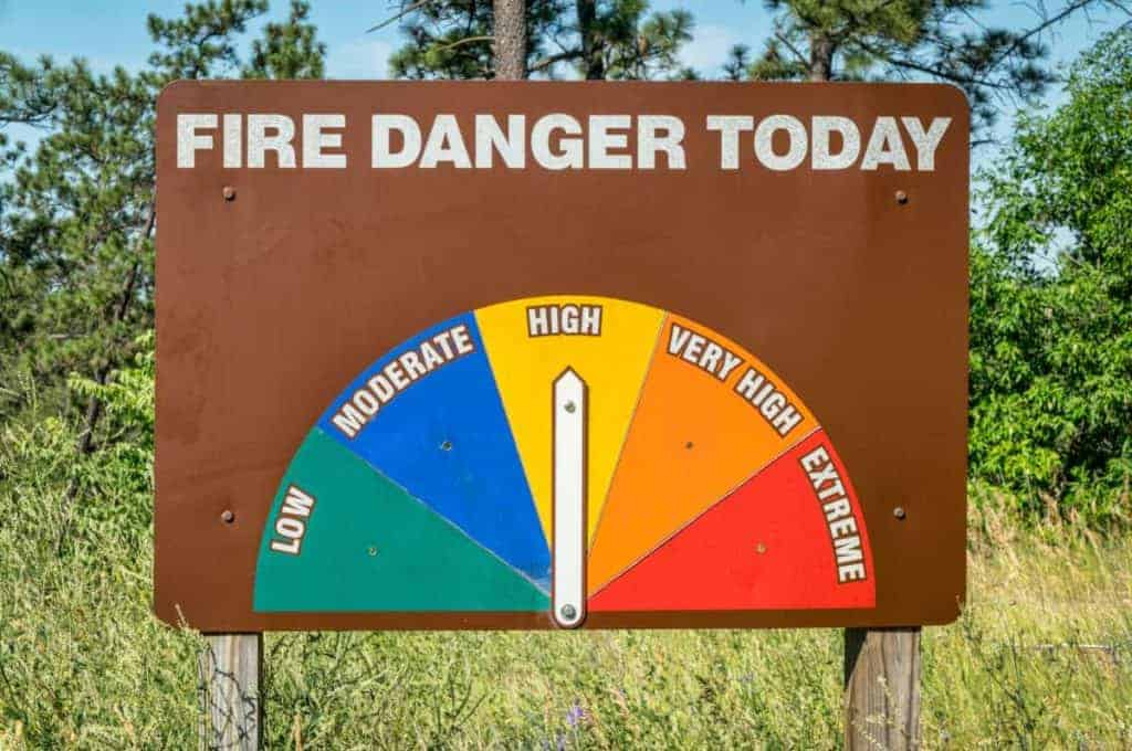 A wildfire warning sign in a forest