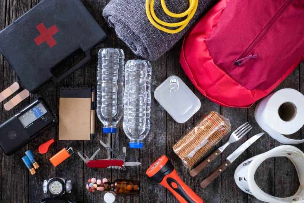 Contents of an emergency disaster survival kit: water, first aid kit, backpack, fire starters, food