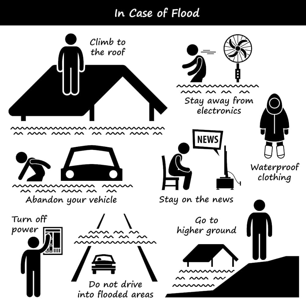 Illustration showing what to do to survive in case you're caught in a flood: stay informed, get out of your car, go to high ground.