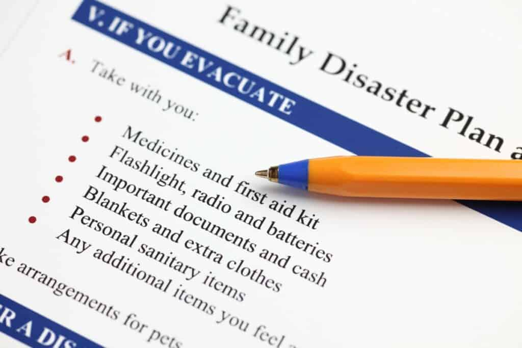 A flood survival checklist as part of your plan on how to survive a flood
