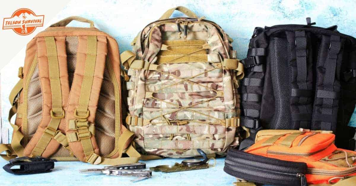 Various types of premade bug out bags and survival gear.