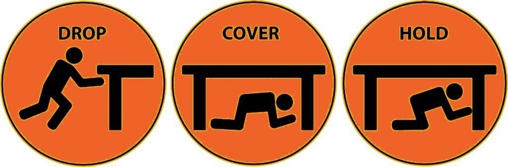 """Illustration showing the """"Drop, cover, hold"""" technique to protect yourself in case of an earthquake."""
