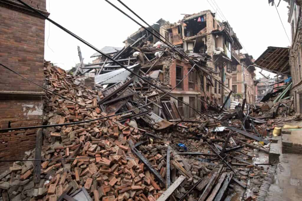 City houses completely destroyed after an earthquake