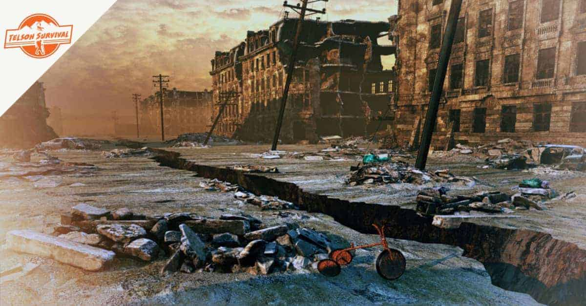 Apocalyptic image of a town suffering from earthquake damage