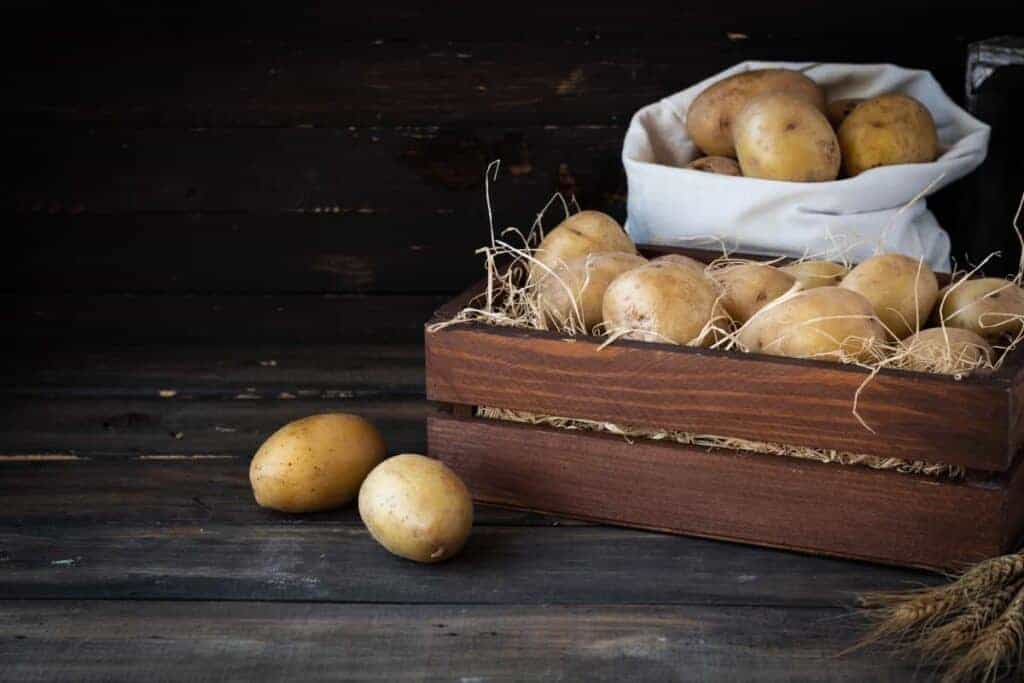Potatoes stored in a root cellar