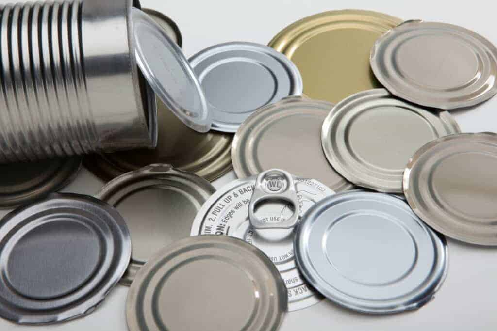 Tin cans and lids used for canning survival food