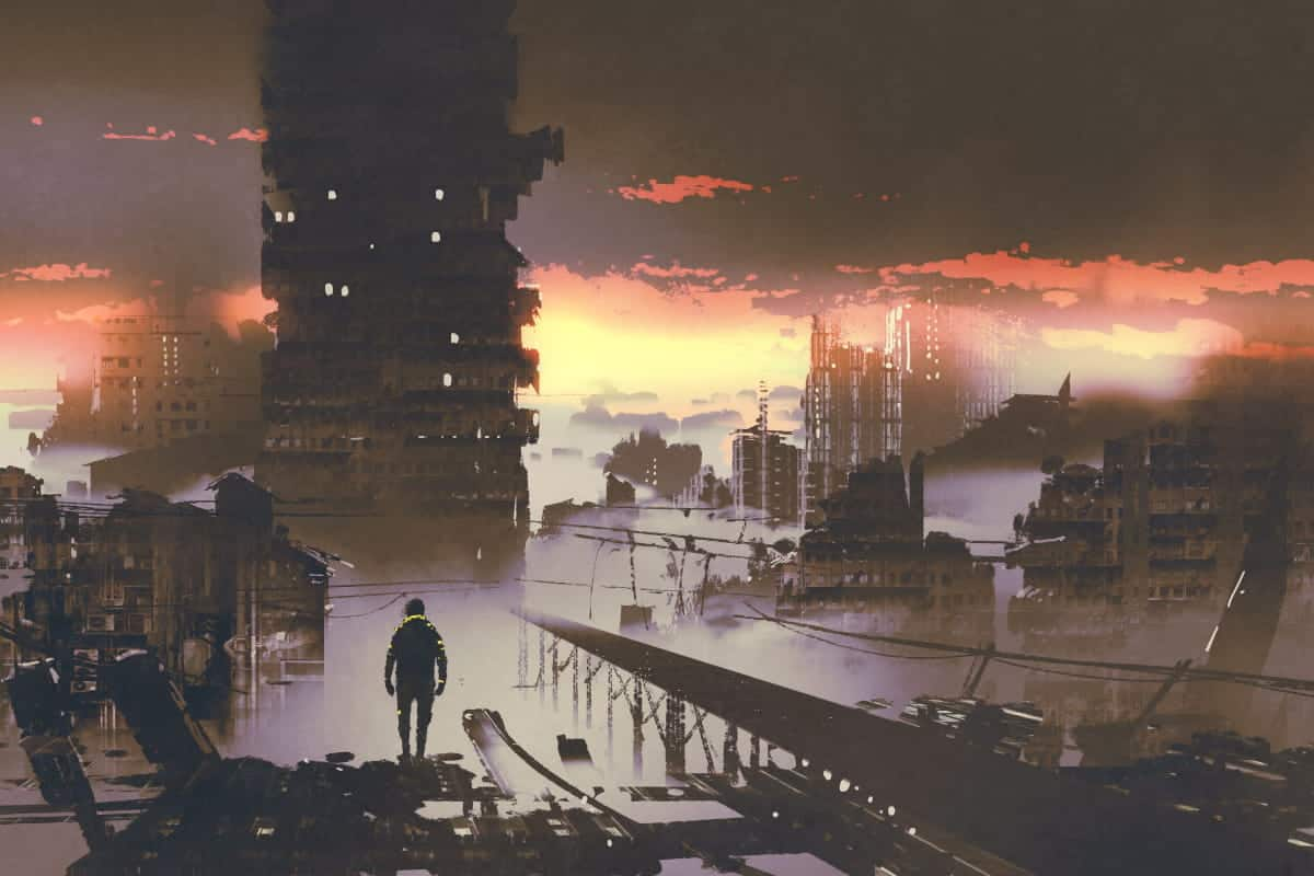 Man surveying post-apocalyptic city after SHTF
