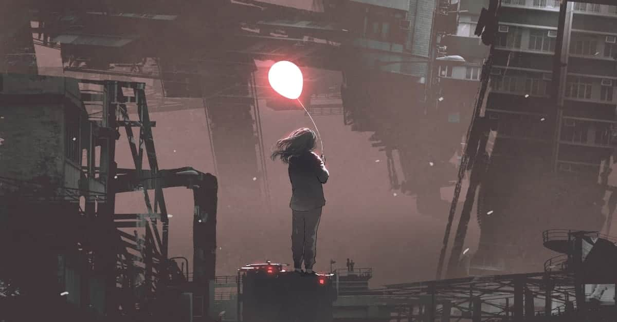 Girl in post-apocalyptic urban environment holding up a glowing baloon
