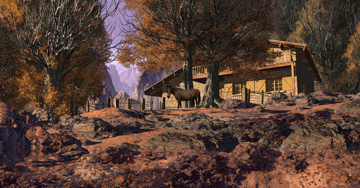 Homestead in the wilderness with a survival garden and horse