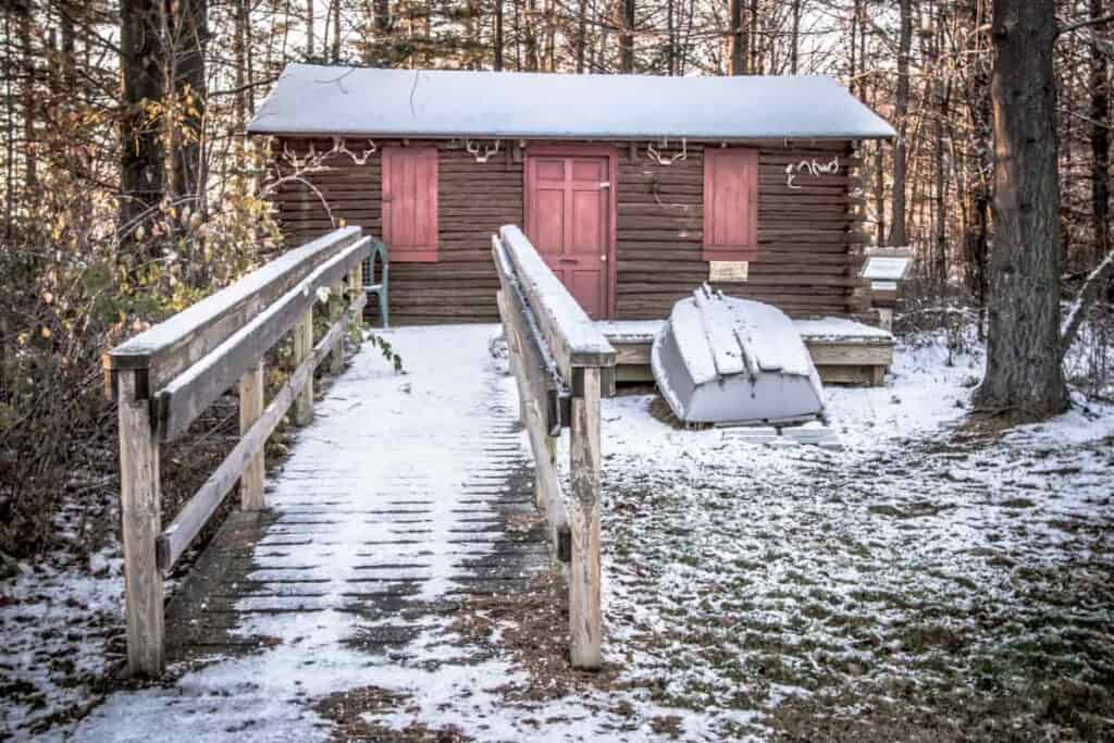 Off grid cabin used as shelter for the winter