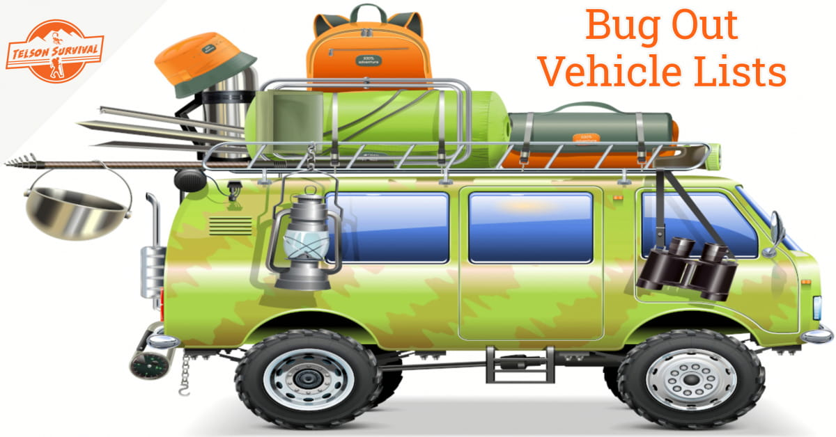 Bug out vehicle equipped with various tools, supplies and survival gear