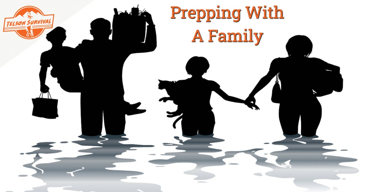 Prepper family following a survival plan during a disaster